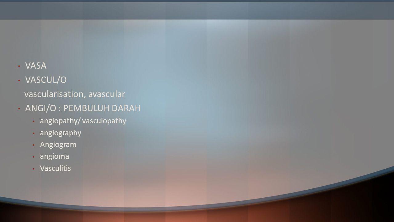vascularisation, avascular ANGI/O : PEMBULUH DARAH