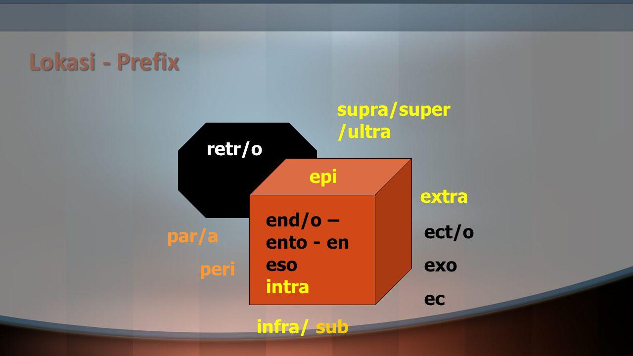 Lokasi - Prefix supra/super /ultra retr/o epi extra end/o – ento - en