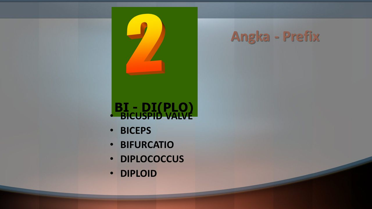 Angka - Prefix 2 BI - DI(PLO) BICUSPID VALVE BICEPS BIFURCATIO