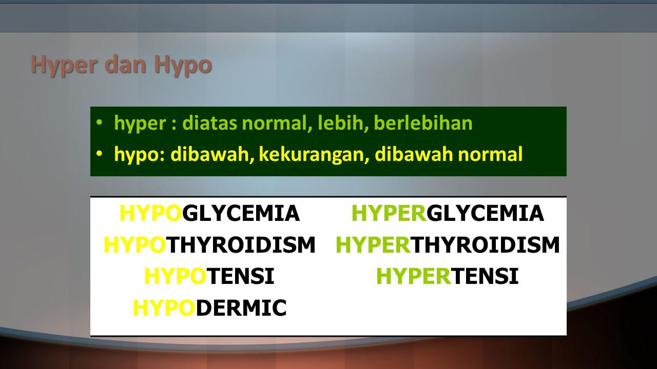 Hyper dan Hypo hyper : diatas normal, lebih, berlebihan
