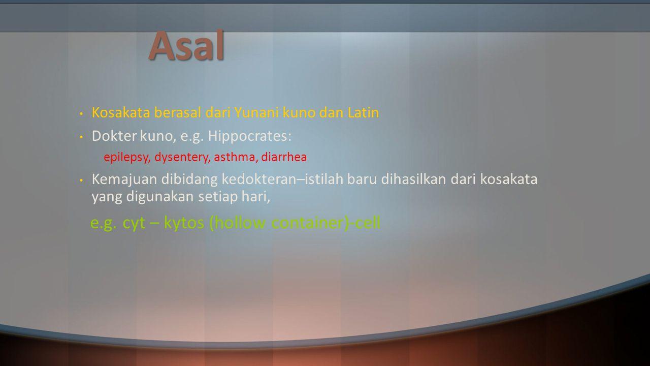 Asal Kosakata berasal dari Yunani kuno dan Latin