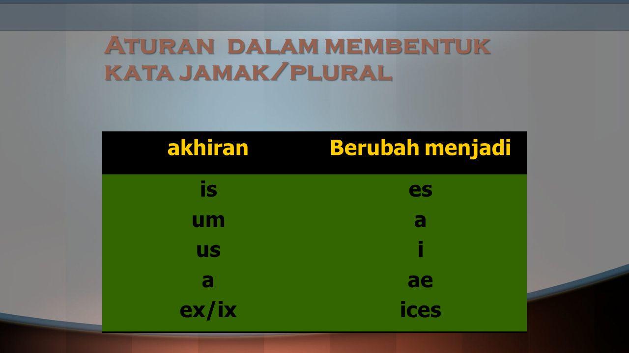Aturan dalam membentuk kata jamak/plural