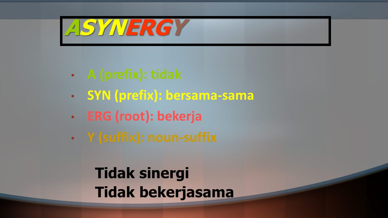 ASYNERGY A (prefix): tidak SYN (prefix): bersama-sama