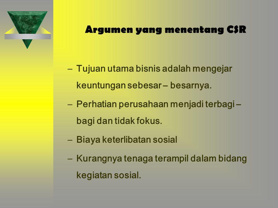 Argumen yang menentang CSR