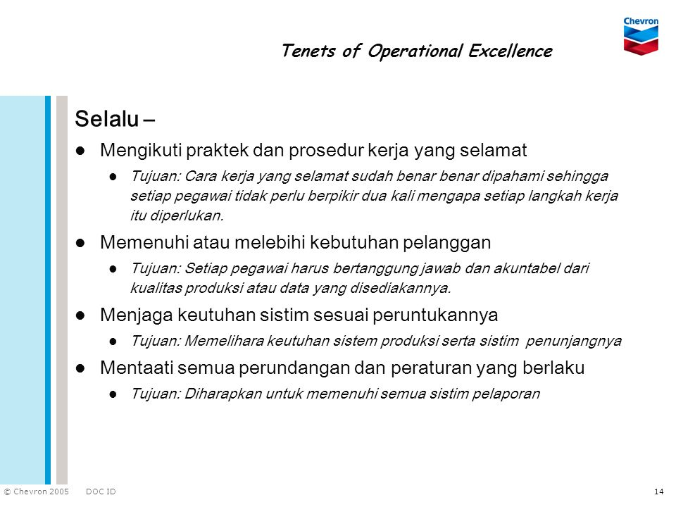 Tenets of Operational Excellence