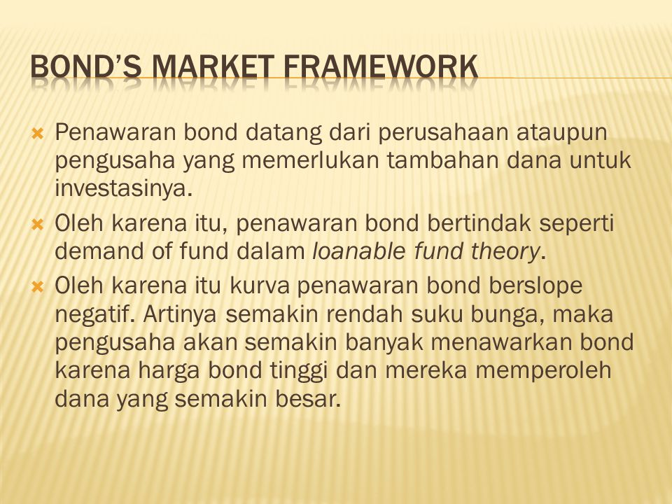 Bond's Market Framework