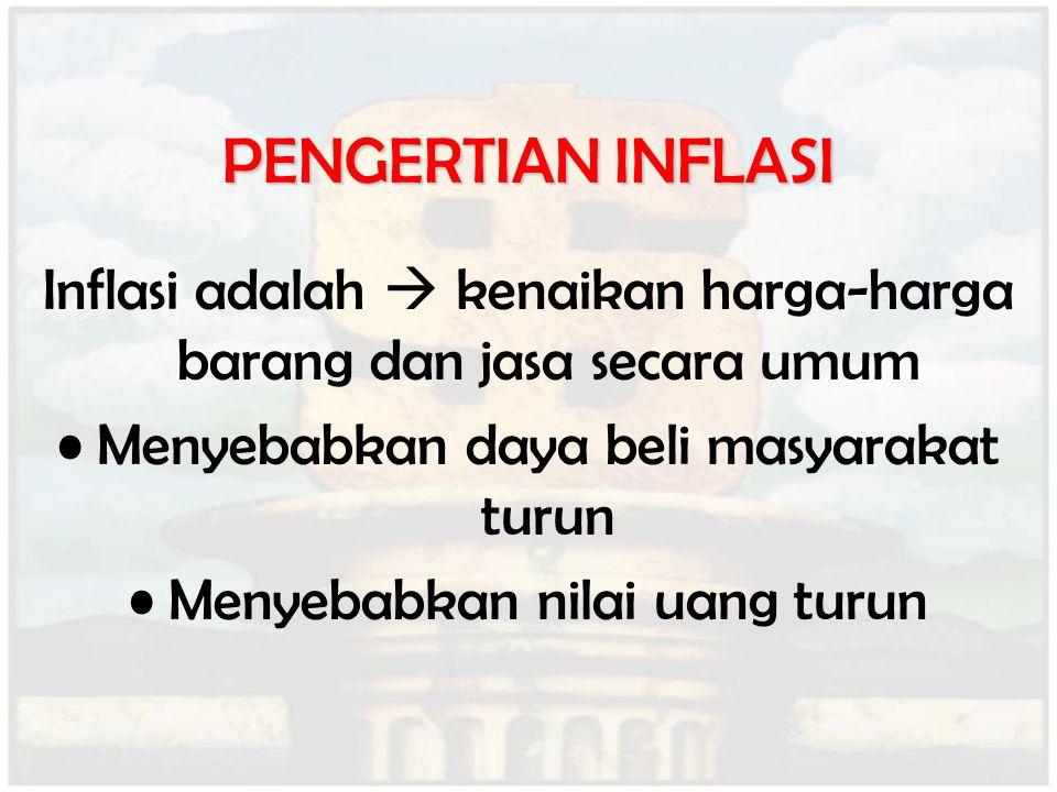 PENGERTIAN INFLASI Inflasi adalah  kenaikan harga-harga barang dan jasa secara umum. Menyebabkan daya beli masyarakat turun.
