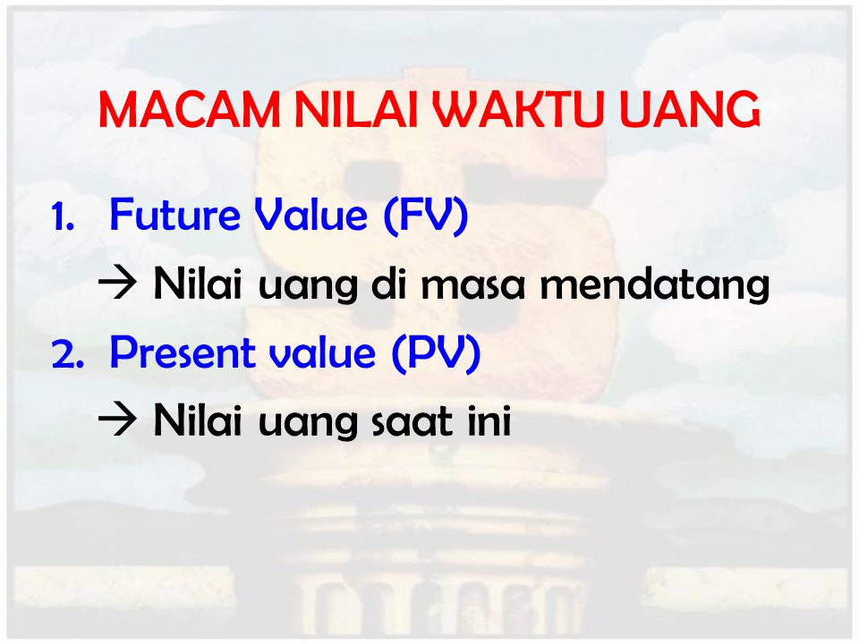MACAM NILAI WAKTU UANG Future Value (FV)
