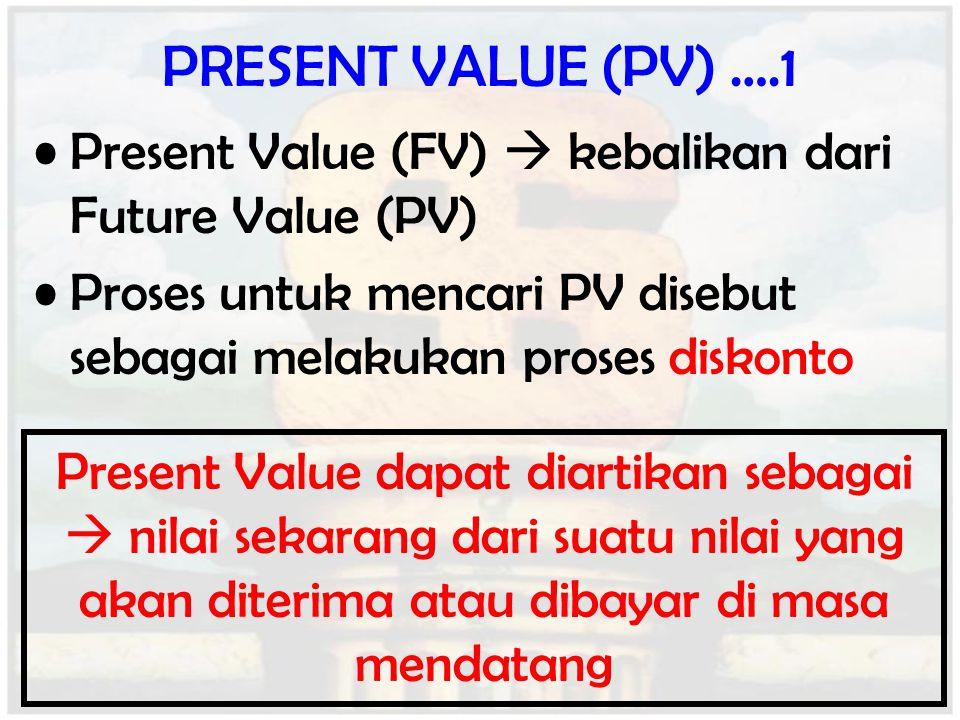 PRESENT VALUE (PV) ….1 Present Value (FV)  kebalikan dari Future Value (PV) Proses untuk mencari PV disebut sebagai melakukan proses diskonto.