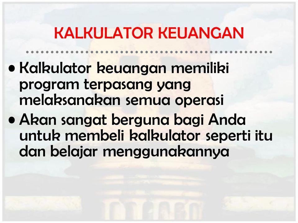 KALKULATOR KEUANGAN Kalkulator keuangan memiliki program terpasang yang melaksanakan semua operasi.