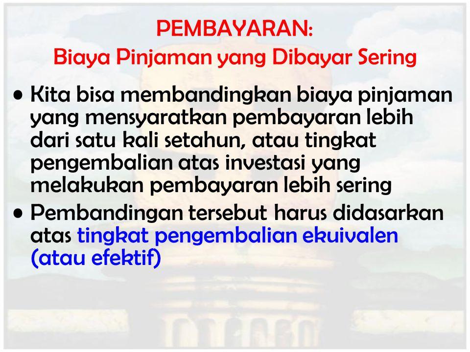 PEMBAYARAN: Biaya Pinjaman yang Dibayar Sering