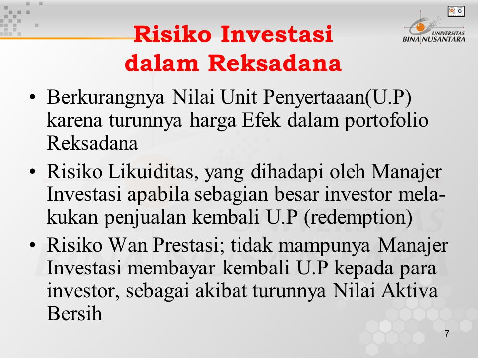 Risiko Investasi dalam Reksadana
