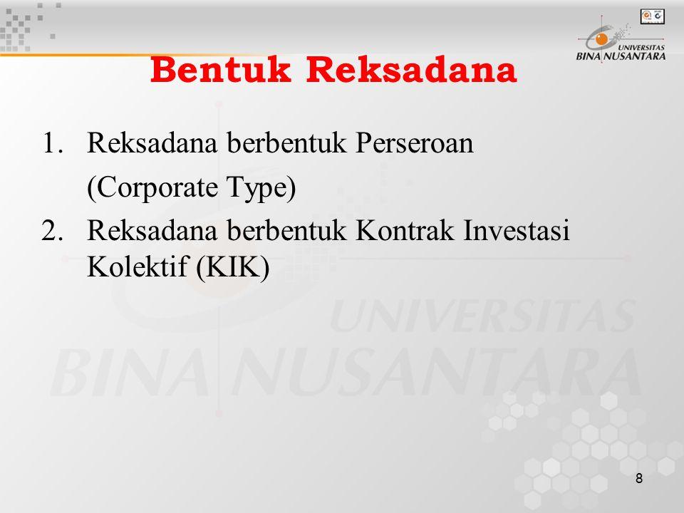 Bentuk Reksadana Reksadana berbentuk Perseroan (Corporate Type)