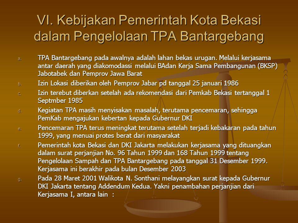 VI. Kebijakan Pemerintah Kota Bekasi dalam Pengelolaan TPA Bantargebang