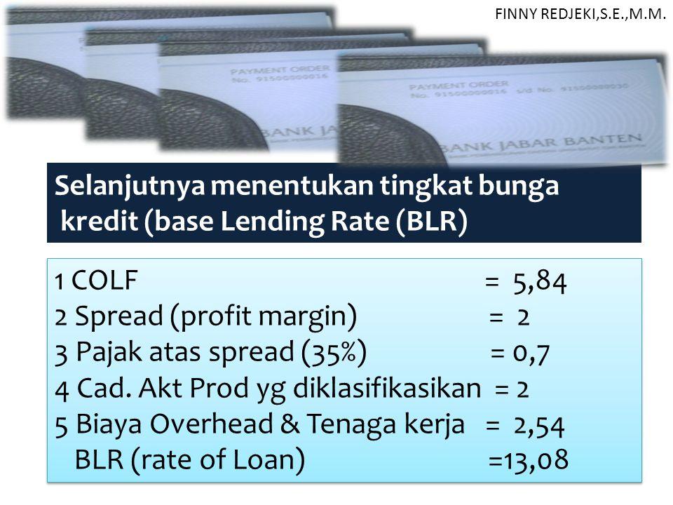 Selanjutnya menentukan tingkat bunga kredit (base Lending Rate (BLR)