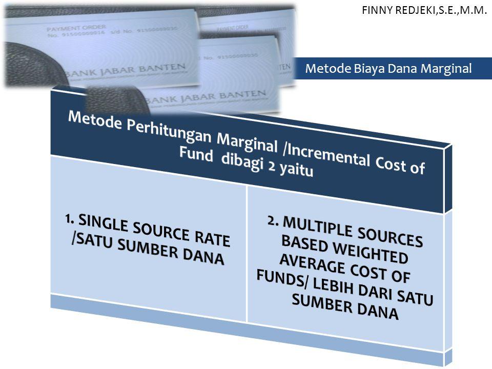 Metode Perhitungan Marginal /Incremental Cost of Fund dibagi 2 yaitu