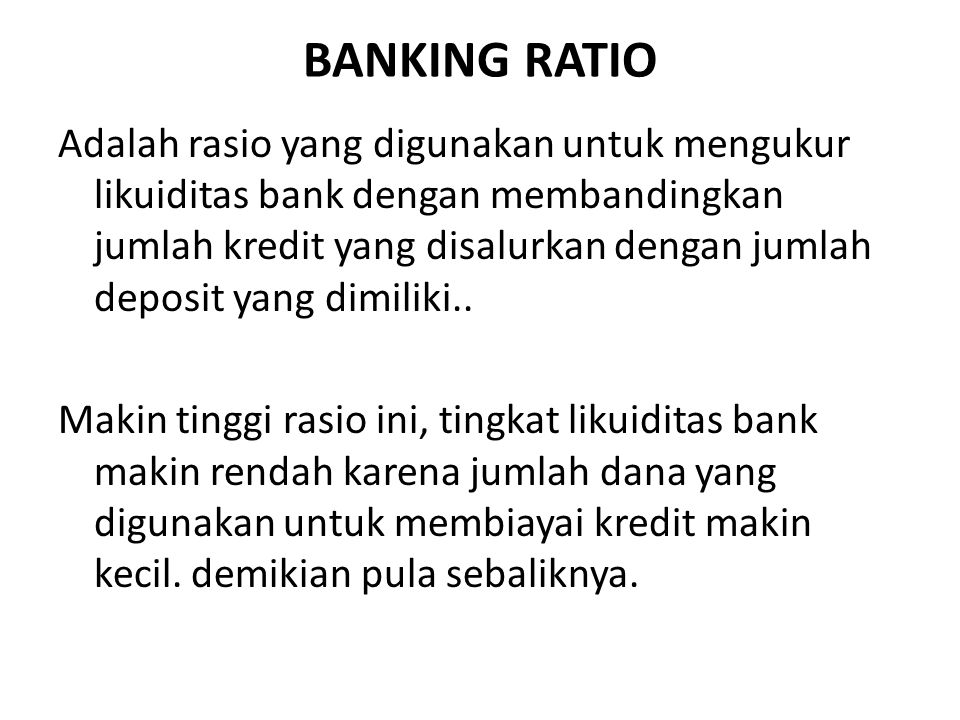 BANKING RATIO