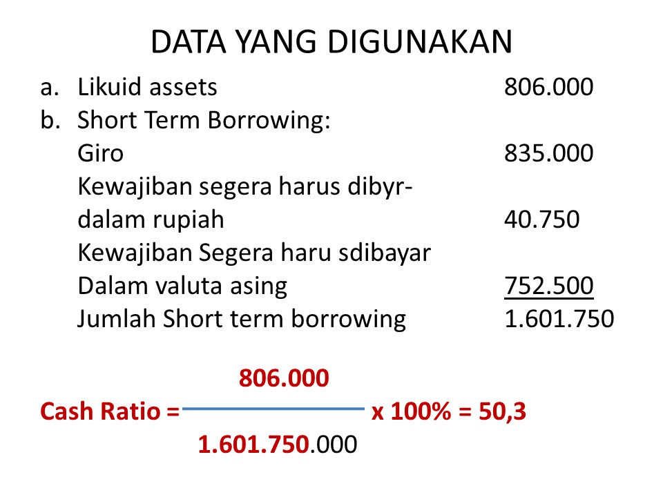 DATA YANG DIGUNAKAN Likuid assets Short Term Borrowing: