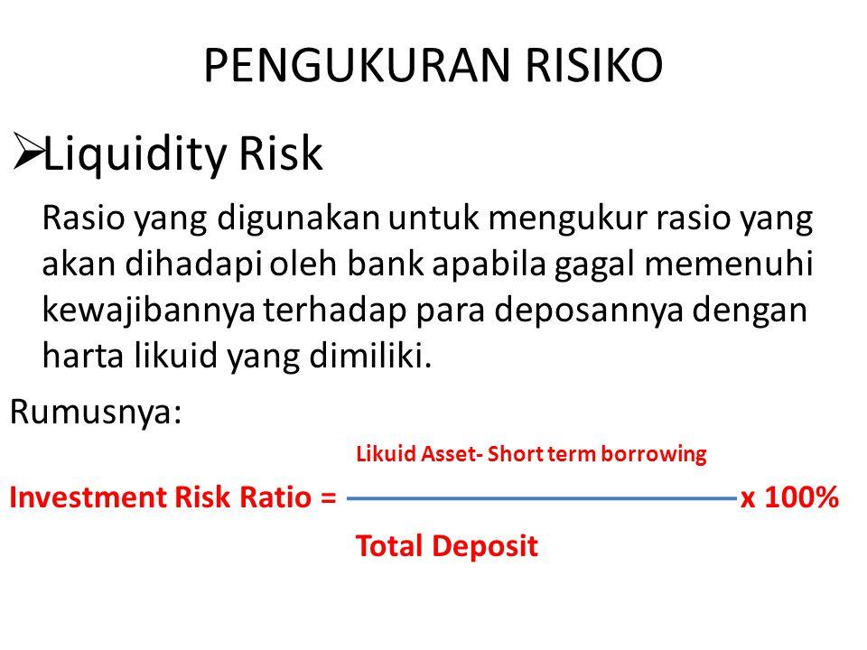 PENGUKURAN RISIKO Liquidity Risk