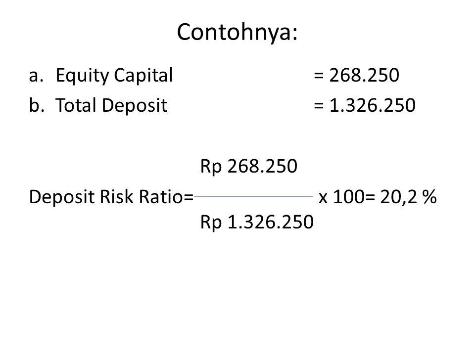 Contohnya: Equity Capital = 268.250 Total Deposit = 1.326.250