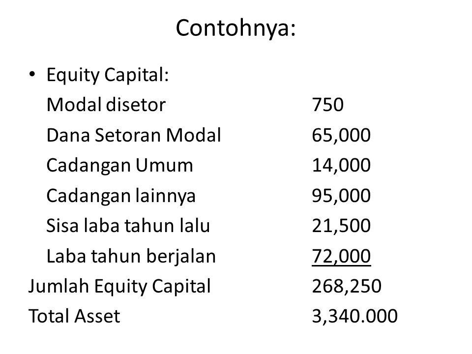 Contohnya: Equity Capital: Modal disetor 750 Dana Setoran Modal 65,000