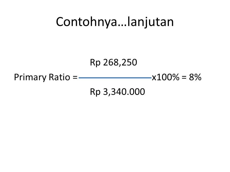 Contohnya…lanjutan Rp 268,250 Primary Ratio = x100% = 8% Rp 3,340.000