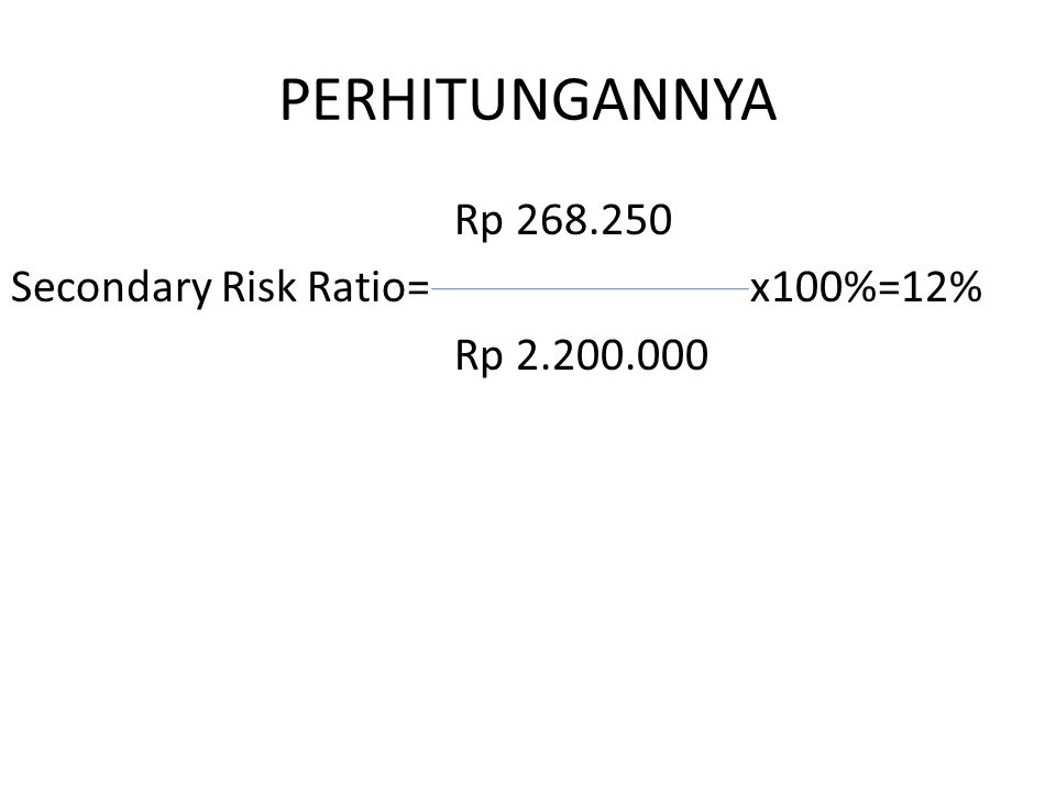 PERHITUNGANNYA Rp 268.250 Secondary Risk Ratio= x100%=12% Rp 2.200.000