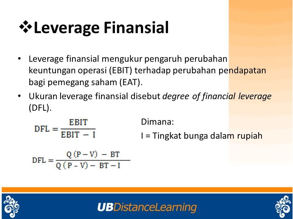 Leverage Finansial Leverage finansial mengukur pengaruh perubahan keuntungan operasi (EBIT) terhadap perubahan pendapatan bagi pemegang saham (EAT).