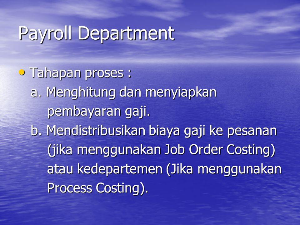 Payroll Department Tahapan proses : a. Menghitung dan menyiapkan