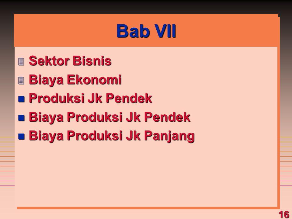 Bab VII Sektor Bisnis Biaya Ekonomi Produksi Jk Pendek