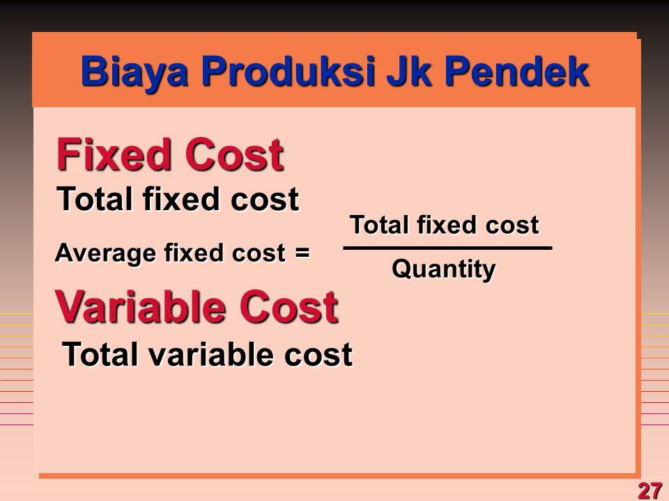 Biaya Produksi Jk Pendek