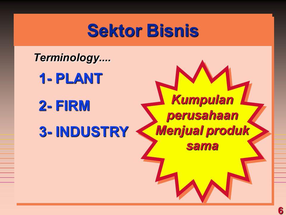 Sektor Bisnis 1- PLANT 2- FIRM 3- INDUSTRY Kumpulan perusahaan