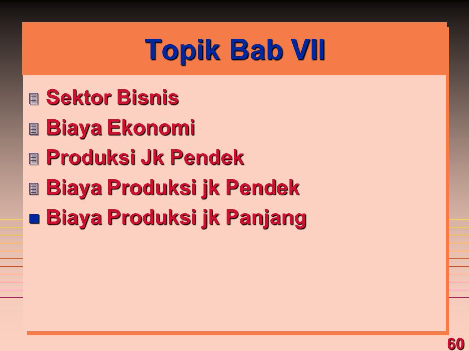 Topik Bab VII Sektor Bisnis Biaya Ekonomi Produksi Jk Pendek