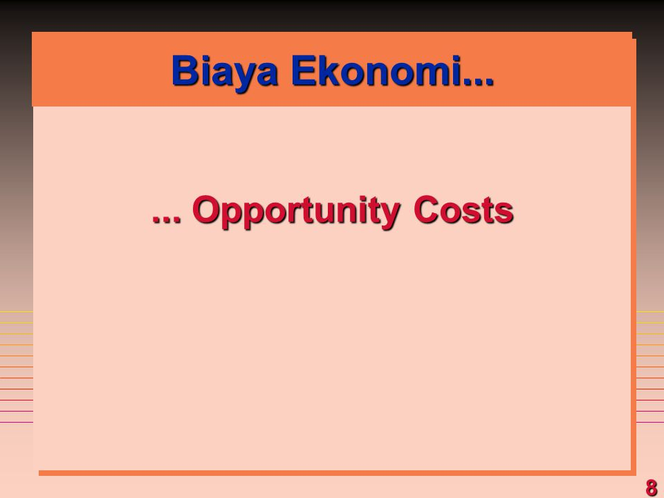 Biaya Ekonomi... ... Opportunity Costs