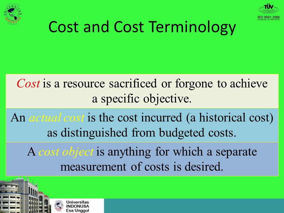 Cost and Cost Terminology