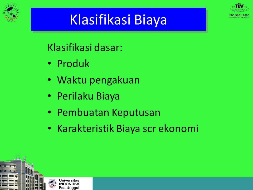 Klasifikasi Biaya Klasifikasi dasar: Produk Waktu pengakuan