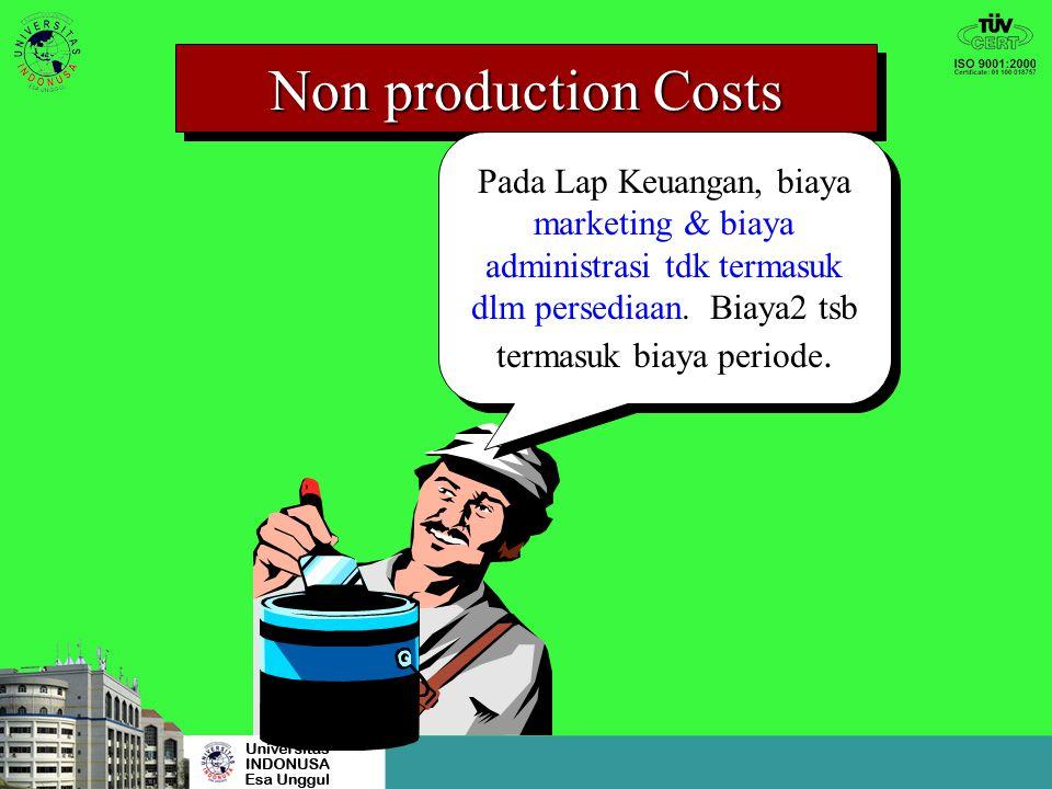 Non production Costs Pada Lap Keuangan, biaya marketing & biaya administrasi tdk termasuk dlm persediaan.