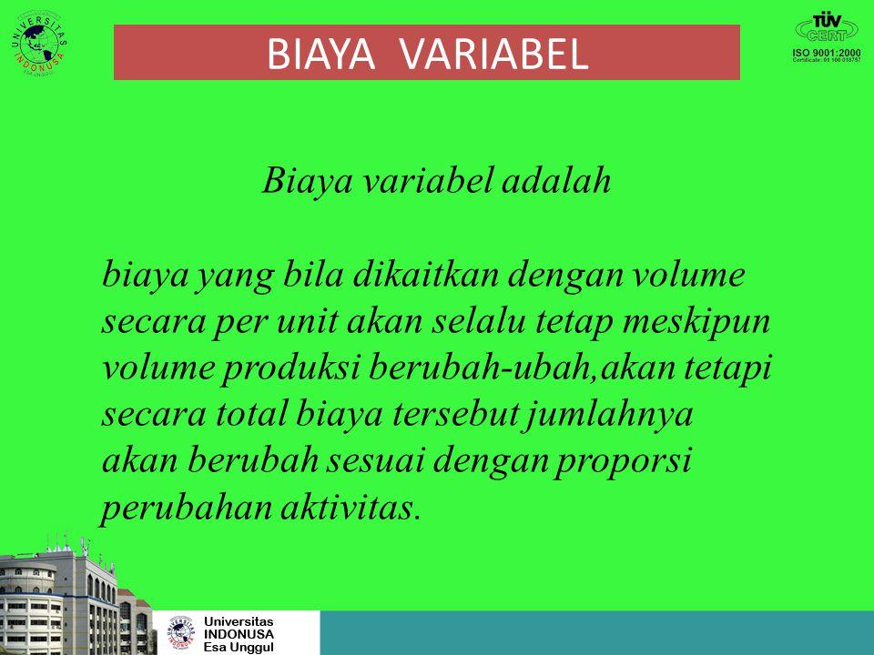 BIAYA VARIABEL Biaya variabel adalah