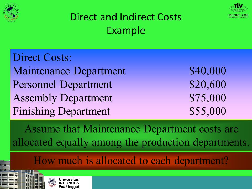 Direct and Indirect Costs Example