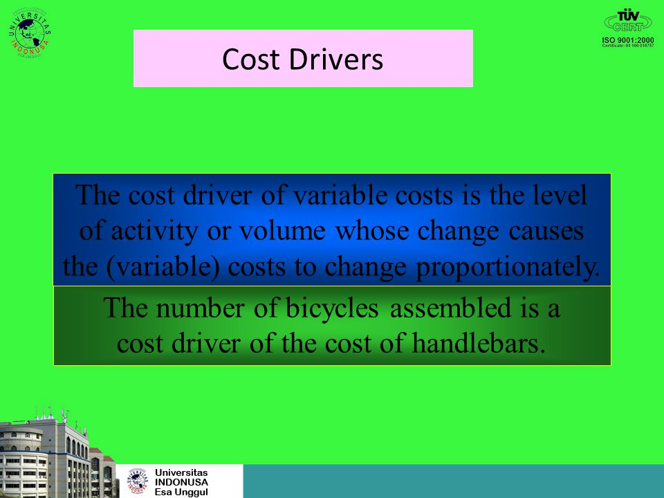 Cost Drivers The cost driver of variable costs is the level