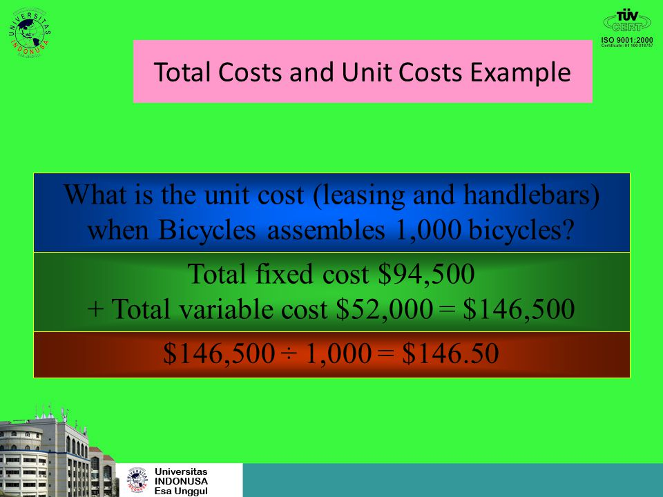 Total Costs and Unit Costs Example