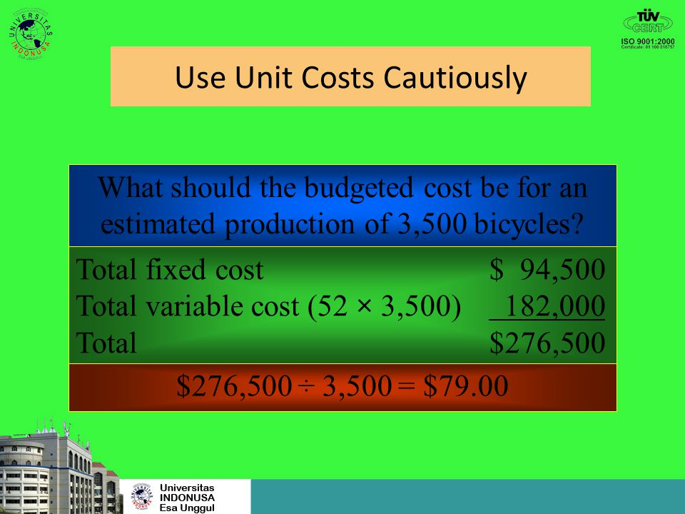 Use Unit Costs Cautiously