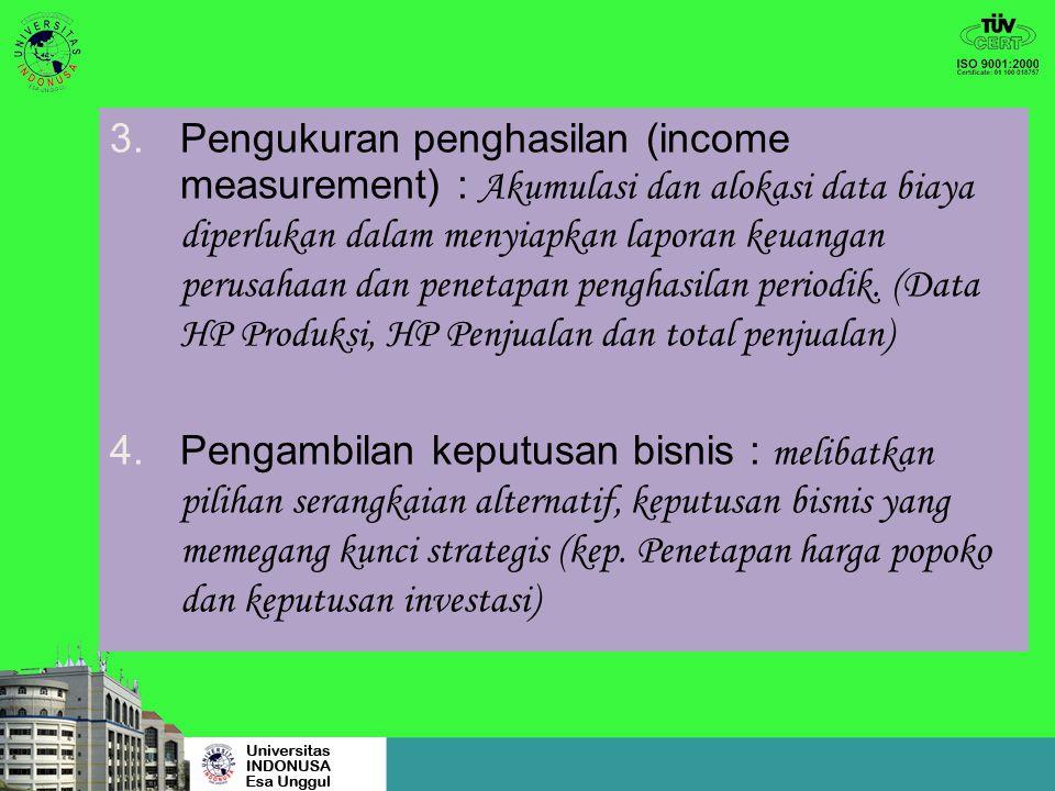 Pengukuran penghasilan (income measurement) : Akumulasi dan alokasi data biaya diperlukan dalam menyiapkan laporan keuangan perusahaan dan penetapan penghasilan periodik. (Data HP Produksi, HP Penjualan dan total penjualan)