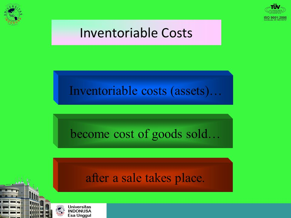 Inventoriable Costs Inventoriable costs (assets)…