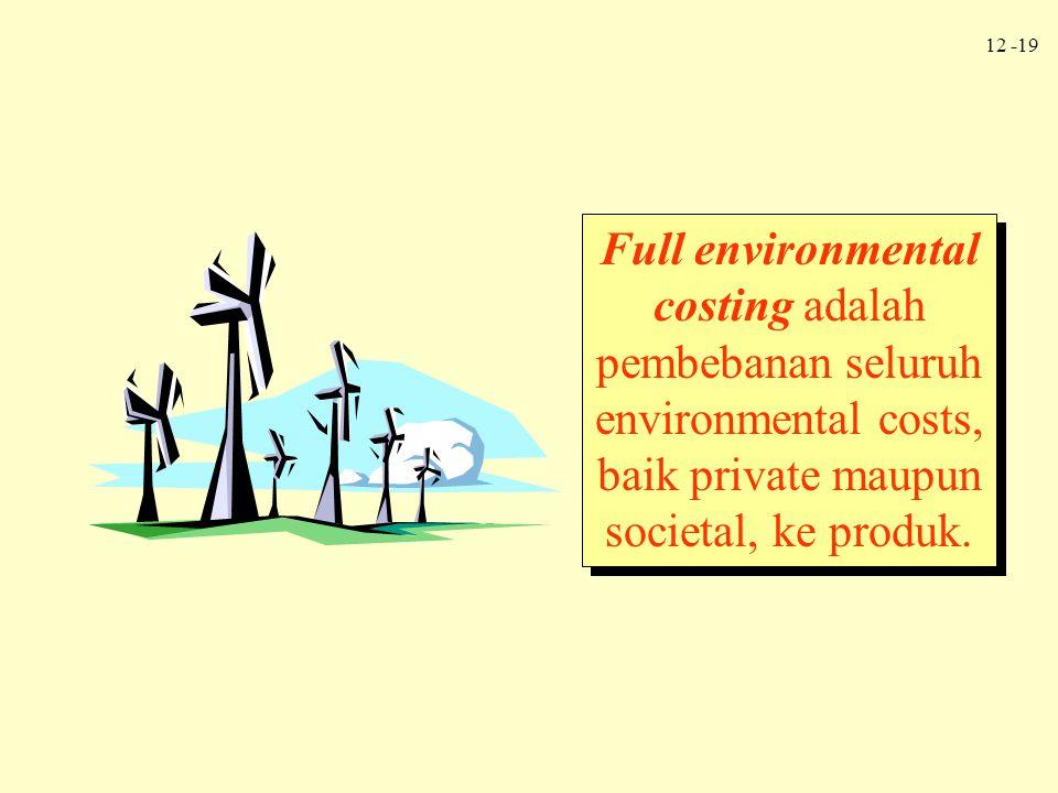 Full environmental costing adalah pembebanan seluruh environmental costs, baik private maupun societal, ke produk.