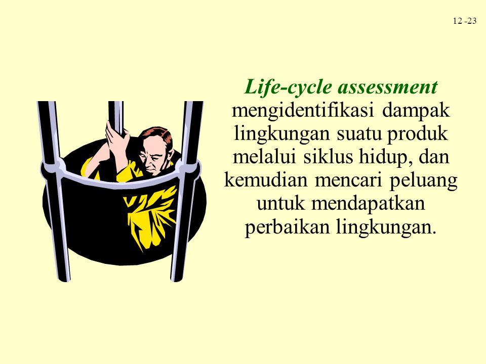 Life-cycle assessment mengidentifikasi dampak lingkungan suatu produk melalui siklus hidup, dan kemudian mencari peluang untuk mendapatkan perbaikan lingkungan.