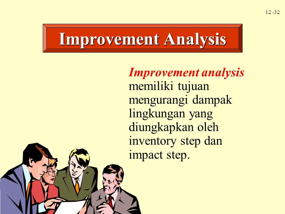 Improvement Analysis Improvement analysis memiliki tujuan mengurangi dampak lingkungan yang diungkapkan oleh inventory step dan impact step.