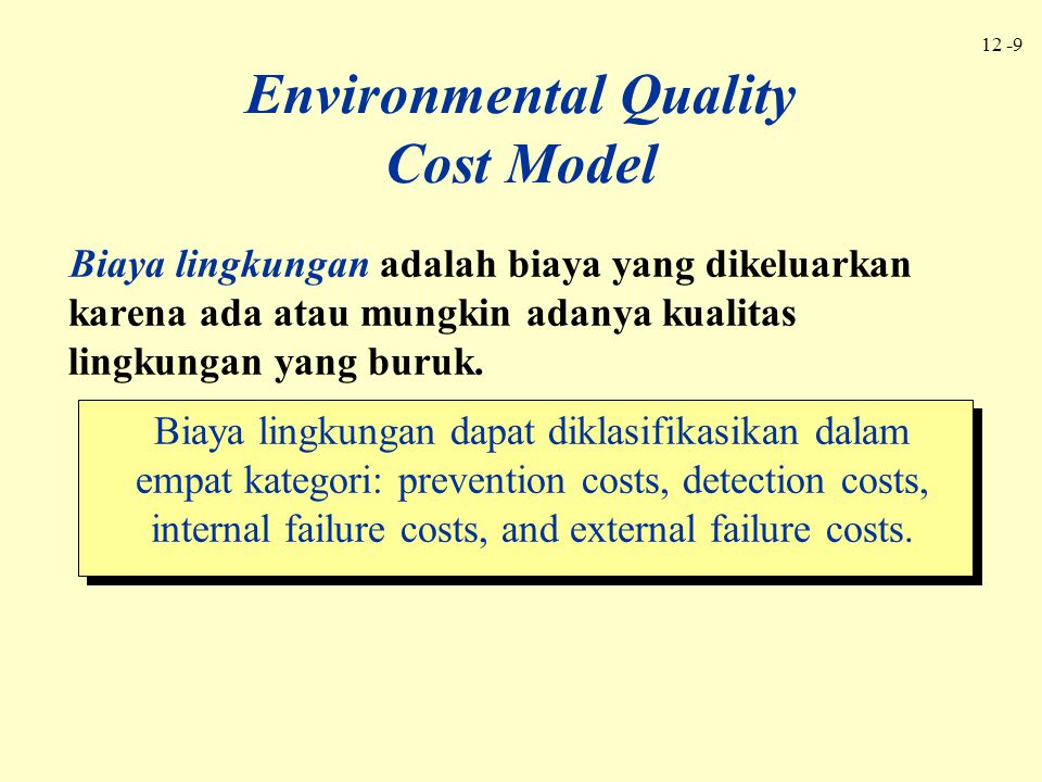 Environmental Quality Cost Model