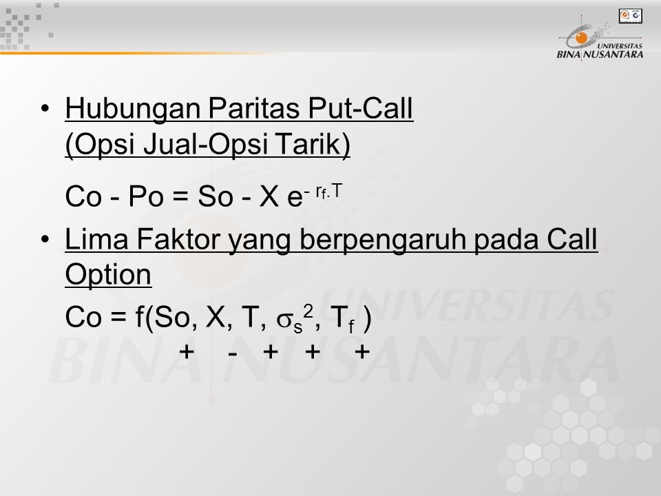 Hubungan Paritas Put-Call