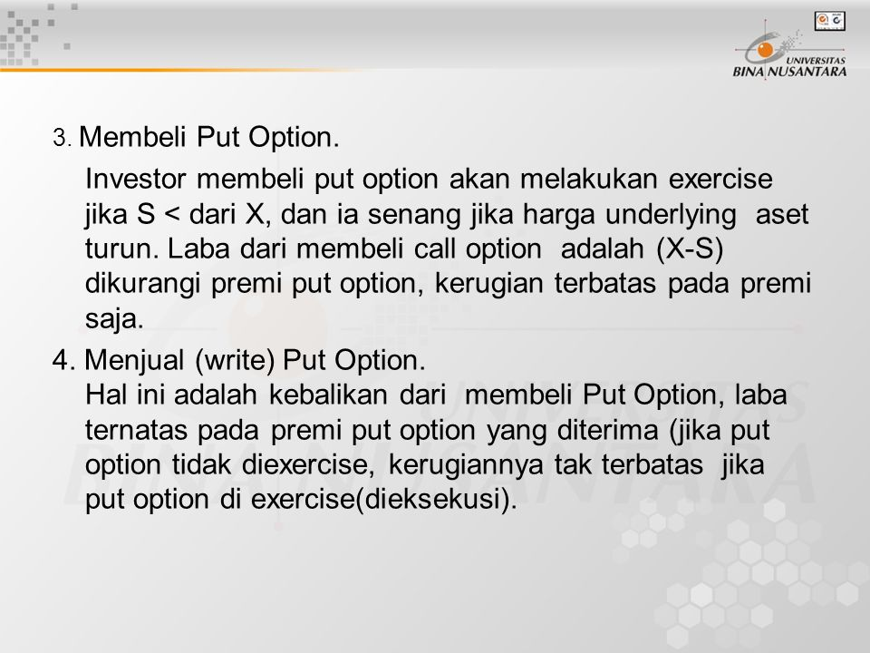 3. Membeli Put Option.